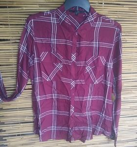 GUESS Red Plaid Pocketed Top XL Plus